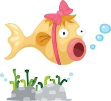 Ilustración de un pez sobre un fondo blanco. vector
