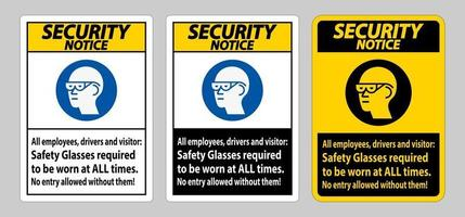 Drivers And Visitors,Safety Glasses Required To Be Worn At All Times vector