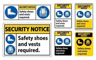 Señal de aviso de seguridad Se requieren zapatos y chaleco de seguridad con ppe vector