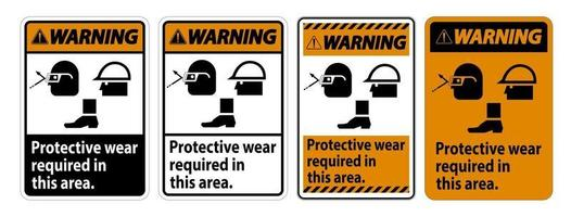 Protective Wear Required In This Area With Goggles Hard Hat And Boots vector