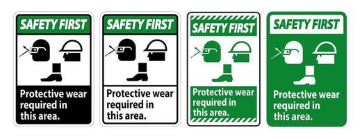 Protective Wear Required In This Area With Goggles Hard Hat And Boot vector