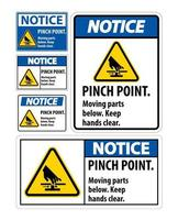 Notice Pinch Point, Moving Parts Below, Keep Hands Clear Symbol vector