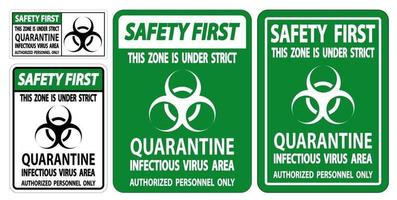 Safety First Quarantine Infectious Virus Area Sign vector