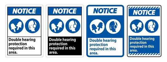 Double Hearing Protection Ear Muffs and Ear Plugs vector