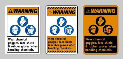 Wear Chemical Goggles, Face Shield and Rubber Gloves vector