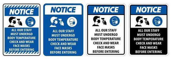 Notice Staff Must Undergo Temperature Check vector