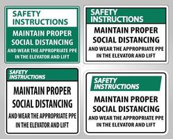 Safety Instructions Maintain Proper Social Distancing Sign vector