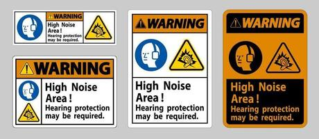 Warning Sign High Noise Area Hearing Protection May Be Required vector