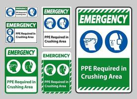 PPE Required In Crushing Area Isolate on White Background vector