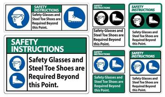 Glasses And Steel Toe Shoes Are Required Beyond This Point vector