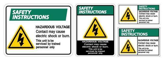 El contacto de voltaje peligroso puede causar descargas eléctricas o quemaduras. vector