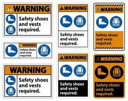 Señal de advertencia Se requiere calzado y chaleco de seguridad con el símbolo de ppe vector