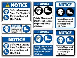 Safety Glasses And Steel Toe Shoes Are Required Beyond This Point vector
