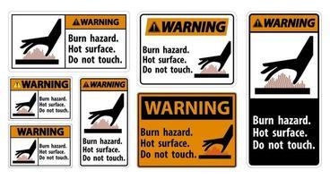 Warning Burn hazard,Hot surface,Do not touch Symbol Sign vector
