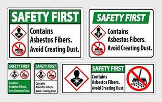 Safety First Label Contains Asbestos Fibers,Avoid Creating Dust vector
