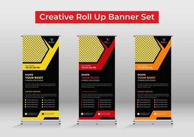 Fitness gym roll up banner template vector