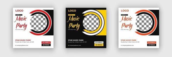 Club dj party flyer social media post web banner vector