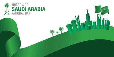 Saudi Arabia national day celebration banner vector