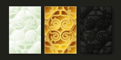 gold and white ornament shape cover vector