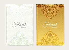 gold and white ornament floral shape cover vector
