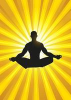 Silhouette illustration of a man figure meditating vector