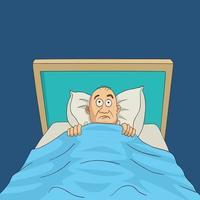 hombre en la cama con los ojos bien abiertos dibujos animados vector
