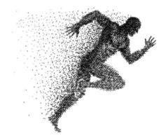 A sprinter made from small dots vector