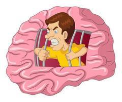 ilustración de dibujos animados de un hombre que se libera del cerebro vector