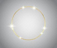 Marco dorado brillante brillante con fondo aislado de sombras vector