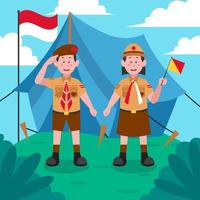 saludo de niño y niña scout para el feliz día de pramuka vector
