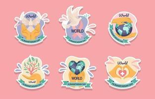World Humanitarian Day Activism Sticker Pack vector