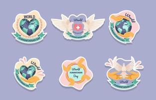 World Humanitarian Day Activism Sticker Set vector