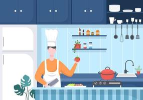 Chef Is Cooking In The Kitchen Background vector