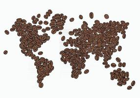 Freehand drawing of coffee bean arrange in world map. vector