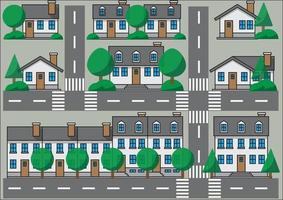 Collection of simplicity suburb houses. vector