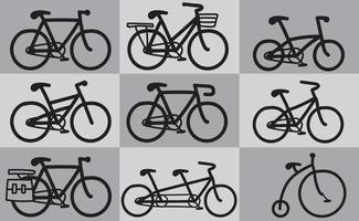 Free hand sketch type of bicycle icons. vector