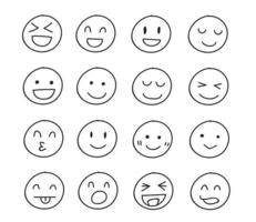 Collection of freehand drawing of happy emoticons vector