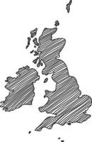 Doodle freehand outline sketch of Great Britain map vector