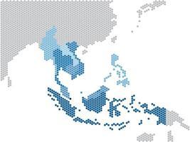 forma hexagonal mapa del sudeste asiático y países vecinos vector