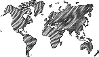 Freehand world map sketch on white background. Vector illustration.