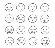 Collection of freehand drawing of unhappy emoticons vector
