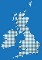 White circle map of United Kingdom and Ireland. Vector illustration.