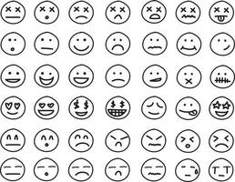 Collection of freehand drawing of emoticons vector