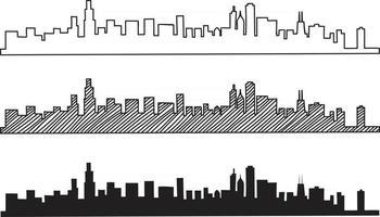 Free hand sketch of Chicago skyline. vector