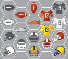 Icons of American football gears vector