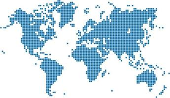 Blue square world map on white background vector