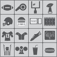 Icons of American football. Vector illustration.