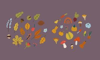 autumn leaves , mushroom, vegetables in flat style. vector