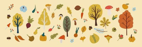 autumn leaves , mushroom, vegetables in flat style vector