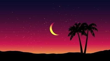 Minimalist Night Landscape With Palm Trees vector